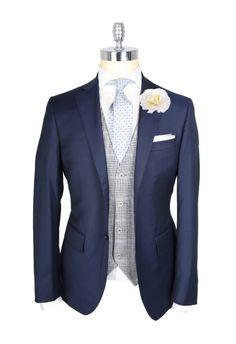 navy blazer + gray plaid vest + ice blue tie