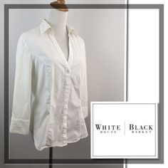 "White House Black Market Button Shirt Great condition. V neck. Logo button. SZ 12, fits about S/M. Color: white. Material: cotton, spandex. Approx measurements taken with item laying flat-no stretching-on one side. Bust(armpit to armpit): 19.5"". Length: 24"" not incl collar. Sleeve: 17.5-18"". Shoulder: 15-15.5"". Item:pma9.  🎀 1 business day handling - FAST SHIPPING. White House Black Market Tops Button Down Shirts"