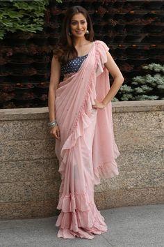 Raai Laxmi Hot In Pink Saree & Back Open Blouse At Where Is The Venkata Laxmi Interview Dress Indian Style, Indian Dresses, Indian Outfits, Indian Wear, Saree Wearing Styles, Saree Styles, Trendy Sarees, Stylish Sarees, Fancy Sarees