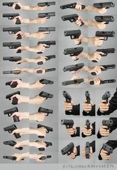 Holding a gun from different perspectives - hand reference - drawing reference Human Reference, Anatomy Reference, Photo Reference, Drawing Reference, Schrift Tattoos, Hand Pose, Anatomy Poses, Poses References, Character Poses