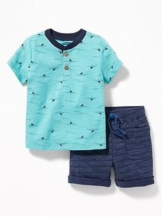 Patterned henley & french terry shorts set for baby old navy Boys Summer Outfits, Baby Boy Outfits, Toddler Outfits, Kids Outfits, Newborn Boy Clothes, Baby Kids Clothes, Baby Boy Dress, Boys T Shirts, Boy Fashion