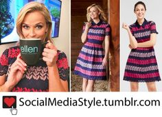 Buy Reese Witherspoon's Draper James Pink and Navy Lace Dress from The Ellen DeGeneres Show, here!