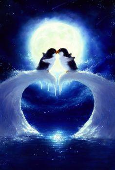 Diamond Painting Moonlight Penguins Love Couples Paint with Diamonds Art Crystal Craft Decor Penguin Pictures, Cute Pictures, Penguin Love Quotes, Glitter Pictures, Penguin Art, Penguin Clipart, Penguin Tattoo, Cat Tattoo, Couple Painting