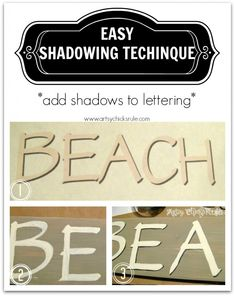 Beach Sign - Easy Technique to add shadowing to any letters  artsychicksrule.com