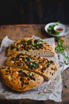 Roasted Garlic and Cilantro Bread - this sounds like a really good focaccia