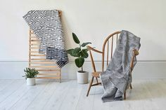 The Block and Line throw on a vintage Ercol chair. Photographed by Yeshen Venema. Ercol Chair, Weaving Textiles, Jacquard Weave, East London, Ladder Decor, Cushions, Vintage, Design, Home Decor