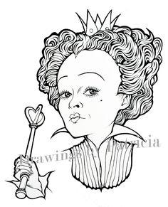 Ilustración de la Reina Roja de Alicia en el País de las Maravillas de Tim Burton. Descarga inmediata, para colorear al momento. de DrawingsByPatricia en Etsy #redqueen #aliceinwonderland
