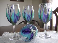 Turquoise and Purple Hand Painted Wine Goblets