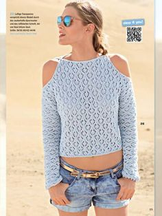 from Sabrina 05 2017 Knitting Blogs, Knitting Designs, Crochet Woman, Knit Crochet, Summer Sweaters, Crochet Fashion, Crochet Clothes, Pulls