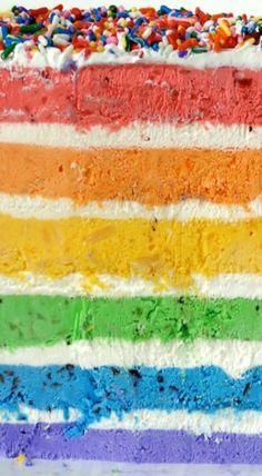 Rainbow Ice Cream Cake with Fresh Fruit
