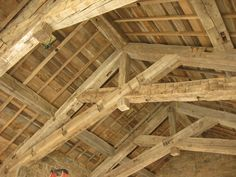 Oak Barnboard Ceiling and Hand Hewn Timber Trusses - Montana Reclaimed Lumber Co.