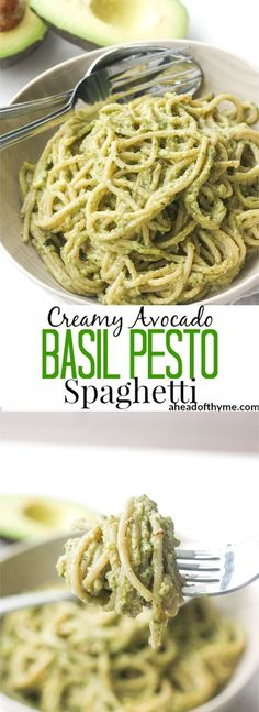 Creamy Avocado Basil Pesto Spaghetti: Treat yourself to the easiest vegan and super creamy avocado basil pesto spaghetti tonight. Ready in 10 minutes, you won\'t know what do with your free time! | aheadofthyme.com