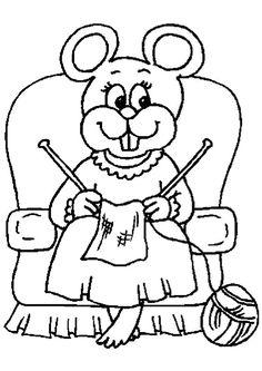Coloriage pour enfants, une maman souris entrain de tricoter sur le sofa