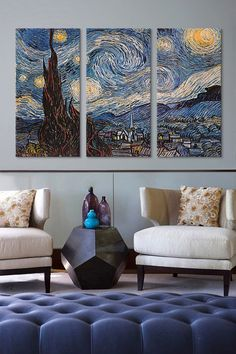iCanvasART Van Gogh's The Starry Night, Triptych