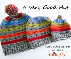 Very Good Hat A Very Good Hat: Free pattern in 6 sizes on Moogly!A Very Good Hat: Free pattern in 6 sizes on Moogly! Crochet Hats For Boys, Crochet Baby Hats, Crochet Beanie, Knit Or Crochet, Crochet Clothes, Knitted Hats, Moogly Crochet, Easy Crochet, Bonnet Crochet