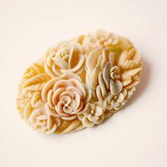 carved bone vintage flower brooch.