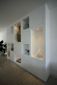 Look at the picture of the MELKAInterieurbouw is the title of a cabinet with a box shape. full built-in wardrobe and the other inspiring images Welke. Home Living Room, Interior Design Living Room, Deco Dyi, Casa Milano, Built In Storage, My New Room, Built Ins, Home Renovation, Shelving