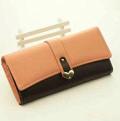 New Style Women Zipper Pink PU Hasp Wallet