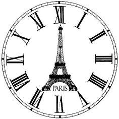Paris clock face with Eiffel tower vintage graphic Clock Face Printable, Printable Art, Images Vintage, Vintage Pictures, Image Paris, Stencils, Etiquette Vintage, Foto Transfer, Paris Images