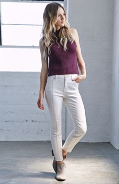 Kendall & Kylie Ecru Quilted Moto Mid Rise Skinny Jeans