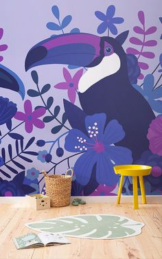 Create a fun and energised theme in your child's space with this bold blue toucan bird wallpaper, a tropical design. Tropical Design, Tropical Plants, Cool Kids Bedrooms, Bird Wallpaper, Perfect Wallpaper, Purple Hues, Bird Prints, Cool Patterns, Violet