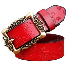 Fashion Wide Genuine leather belts for women Vintage Floral Pin buckle Woman belt High quality second layer Cow skin jeans strap Best Leather Belt, Leather Buckle, Leather Belts, Cow Leather, Cuir Vintage, Vintage Leather, Cow Skin, Motif Floral, Floral Design