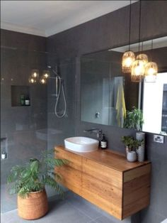 Bathroom renovation ideas / bar - Find and save ideas about bathroom design Ideas on 65 Most Popular Small Bathroom Remodel Ideas on a Budget in 2018 This beautiful look was created with cool colors, marble tile and a change of layout. Bathroom Toilets, Laundry In Bathroom, Bathroom Inspo, Bathroom Grey, Vanity Bathroom, Bathroom Small, Bathroom Modern, Warm Bathroom, Dark Grey Bathrooms