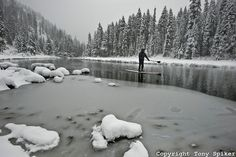 """Winter SUP on the Truckee River 4"" - by @Tony Gebely Spiker #SUP #Truckee #snow"