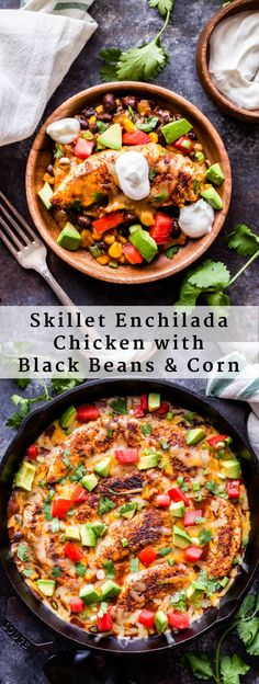 Skillet Enchilada Chicken with Black Beans and Corn is a quick and easy Mexican dinner that will be on your table in 30 minutes! All the flavor of traditional chicken enchiladas without all the work! Corn Recipes, Healthy Pasta Recipes, Best Chicken Recipes, Healthy Pastas, Recipes With Beans And Corn, Healthy Mexican Recipes, Yummy Recipes, Healthy Food, Recipies