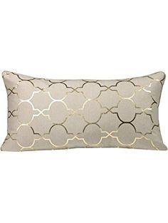 "Urban Loft by Westex Foil Tile Feather Filled Cushion, 14 by 26"", Gold ❤ Westex International"