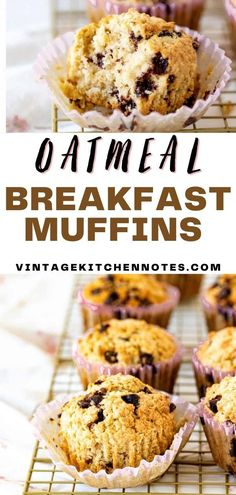 These are the perfect muffins for breakfast! They're moist, hearty from the oatmeal, and have a touch of sweetness. Packed with chocolate chips in every bite the kiddos will be a fan of these as well. They come together quickly and are perfect for an on the go breakfast or snack.