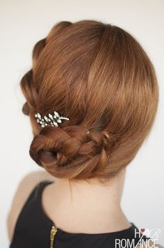 Hair Romance - Formal braided updo hairstyle tutorial with Jennifer Behr pin