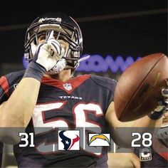 Houston Texans inside linebacker Brian Cushing celebrates a touchdown against the San Diego Chargers during the second half of an NFL football game Monday, Sept. in San Diego. Texans Football, Nfl Football Games, Football Is Life, Football Season, Football Helmets, Brian Cushing, Bulls On Parade, Usc Trojans, Nfl News
