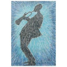 NOVICA Music Themed Acrylic Painting of Man Playing a Trumpet ($338) ❤ liked on Polyvore featuring home, home decor, wall art, blue, expressionist paintings, paintings, music paintings, blue painting, novica and blue home decor