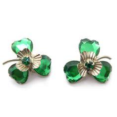 Vintage 1940s Green Mirror Glass Clover Clip Earrings | Clarice Jewellery | Vintage Jewellery | Vintage Costume Jewellery