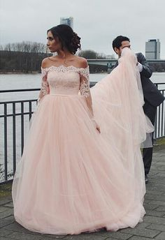 Long Sleeve Lace Bridal Dress,Off the Shoulder Tulle Prom Dress,Custom Made Evening Dress,17312