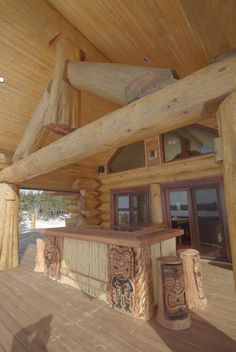 The tiki bar will be the main attraction on Ken's sprawling square foot deck. Log Cabin Living, Log Cabin Homes, Design Thinking, Rustic Outdoor Spaces, Little Log Cabin, Timber Logs, Wooden Architecture, Backyard Kitchen, Small Places