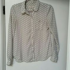 Loft Blouse LOFT. Button down blouse. Rounded collar. Breast pocket. Light gray and white polka dots. Size small. 100% polyester. Lightweight  Great shape. No trades. poshmark only. LOFT Tops Button Down Shirts
