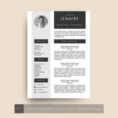Resume Template 3 Pages / CV Cover Letter & References by TheFrenchResume  Resume Design CV Modern minimalist photo Black & White Noir Blanc Creatif Creative Professional Modern Resume Template Professional CV Template, MS Word, Creative Resume Template, Simple Resume, Teacher Resume, Instant Download, College Resume Template, Modern Resume Template, Creative Resume Templates, Cv Template, Cover Letter Template, Cv Cover Letter, Resume Action Words, Resume Words Skills, Microsoft Word