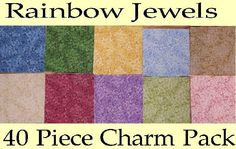 80 RAINBOW JEWEL FABRIC Squares CHARM SQUARES KIT - QUILT BLOCK PIECES RARE SHIPS FREE Free Pattern