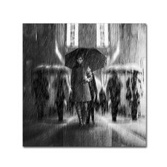 "Trademark Art 'Rain of Sadness' Graphic Art Print on Wrapped Canvas Size: 14"" H x 14"" W"
