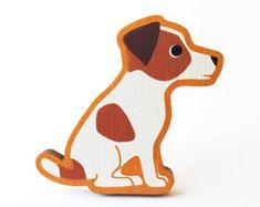Jack Russell Terrier Wooden Brooch Pin