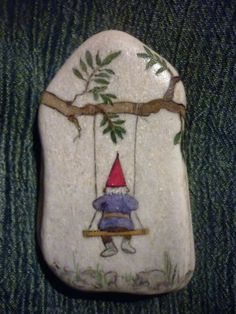 Gnome painted rock