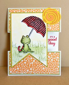 BEAUTIFUL CARD 2016 - It's a Good Day! The umbrella is from the Weather Together set, the grass is from the In the Meadow set, and the sentiment is from the Best Birds set. Z Cards, Cool Cards, Kids Cards, Feel Better Cards, Umbrella Cards, Under My Umbrella, Stampin Up Catalog, Card Making Tutorials, Stamping Up Cards