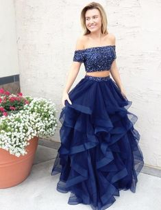 Off Shoulder Cap Sleeve Navy Blue Two Piece Prom Dresses with Multi Layered Tulle Skirt