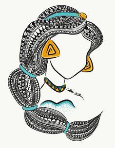 Art Drawings Sketches Simple, Girl Drawing Sketches, Girly Drawings, Abstract Pencil Drawings, Mandala Art Lesson, Mandala Artwork, Mandala Drawing, Princess Jasmine, Aladdin Princess