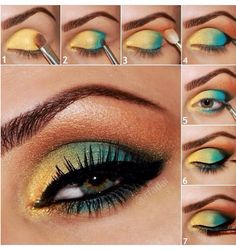Very exotic colors step by step eye makeup
