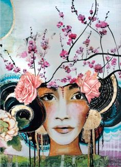 I would love to have something like this on the girls wall! Cherry Blossom Art Panel
