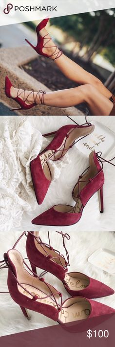 """new//sam edelman • lace up pumps 🛍: sam edelman  ▫️Pointed-toe d'orsay lace up pumps crafted from luxurious suede ▫️beautiful dark red color - color truest in last photo  ▫️heel height: approx 4"""" ▫️size: 7.5 ▫️condition: new with box; please note: these are new shoes that were tried on a few times by customers. The bottoms may appear a tad dirty (photo of bottoms depict actually item perfectly)  •please read description & ask questions before purchasing• •no trades• Sam Edelman Shoes Heels"""