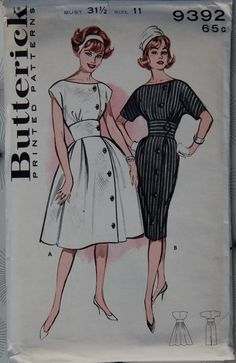 Butterick 9392. i don't care for the poofy skirt, but i like the buttons down the side and also the waist band. cute, eh
